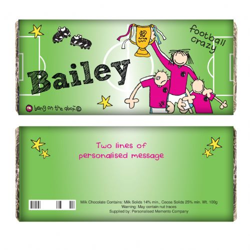 Personalised Bang on the Door Football Crazy Chocolate Bar..